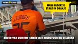 """VIDEO: Quinten met microfoon bij de Johan Cruijff Arena: """"Mijn broertje Jurrien staat in de basis"""""""