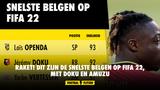 RAKET! Dit zijn de snelste Belgen op FIFA 22, met Doku en Amuzu